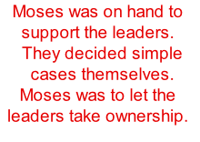 Moses was on hand to support the leaders. They decided simple cases themselves. Moses was to let the leaders take ownership.